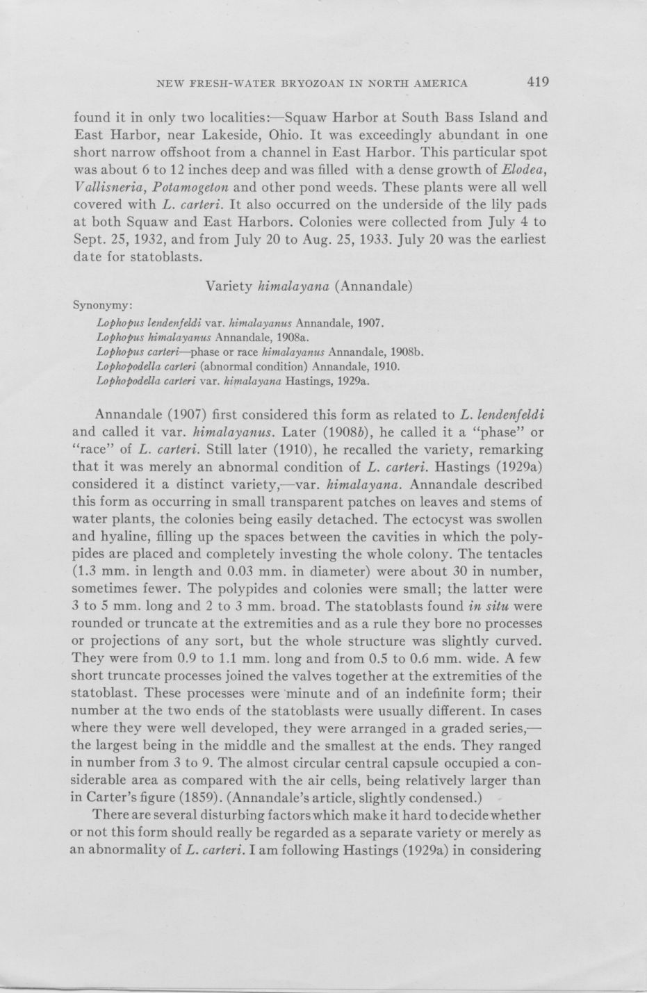 The occurrence of Lophopodella carteri page 5